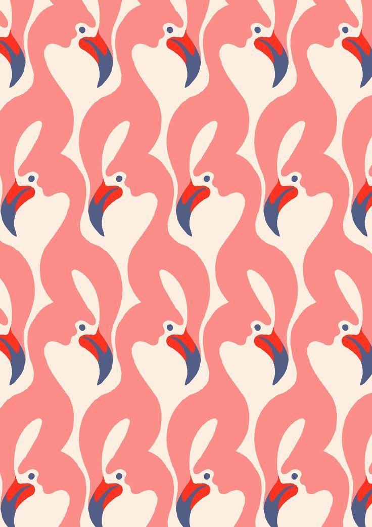 Amazing retro flamingo wallpaper