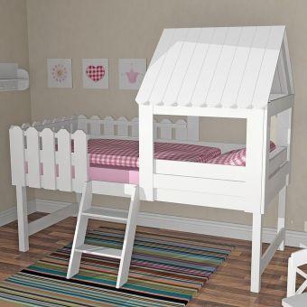 Spielbett BAUMHAUS - für kleine Abenteurer, inkl. Lattenrost, Massivholz, weiß, 90x200cm