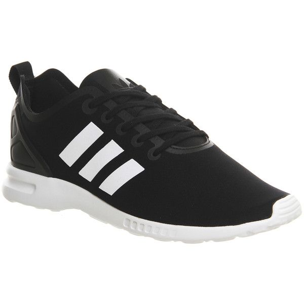 Adidas Zx Flux Smooth (w) (200 SAR) ❤ liked on Polyvore featuring shoes, sneakers, adidas, black white, hers trainers, trainers, adidas trainers, striped sneakers, white and black shoes and black and white stripe shoes