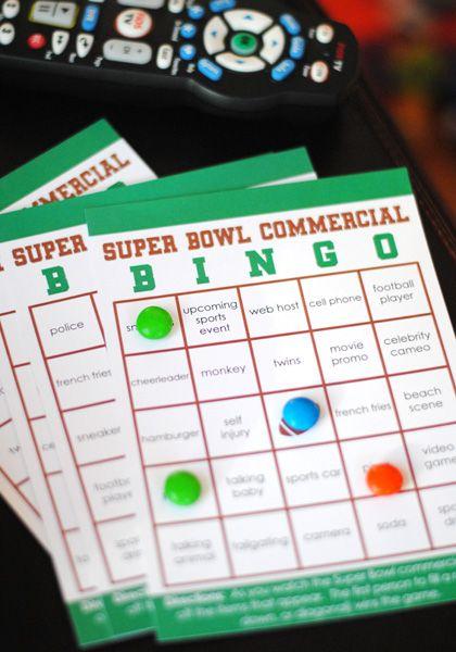 FREE printable super bowl party bingo cards.  Football party fun!