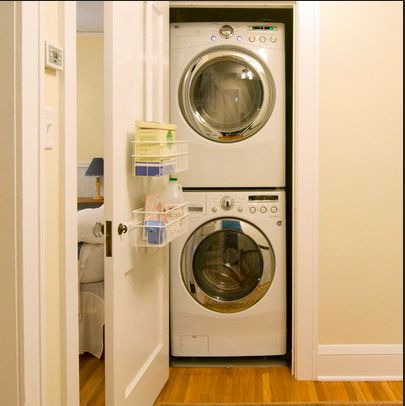 Laundry closet stackable washer dryer google search for Washer dryer closet dimensions