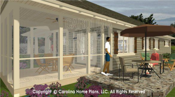 small house plans with porches   3D Images For CHP-SG-1248-AA   Small Country Ranch 3D House Plan Views