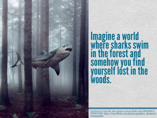 Imagine a world that's a little different. How would it affect you? What if sharks swam in the forest? What if cars drove themselves? What if oceans were lemonade? Take any one thing and make it different.