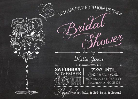 vintage chalkboard wine  u0026 butterfly bridal shower printable invitation