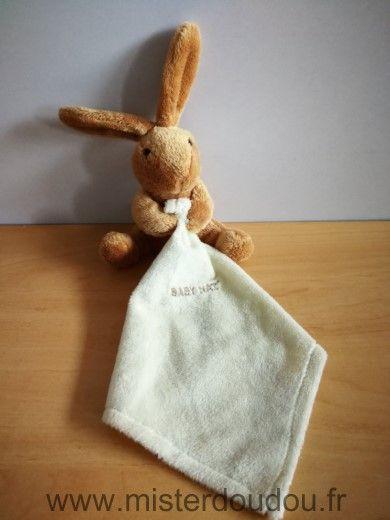 Doudou Lapin Baby nat Beige mouchoir ecru