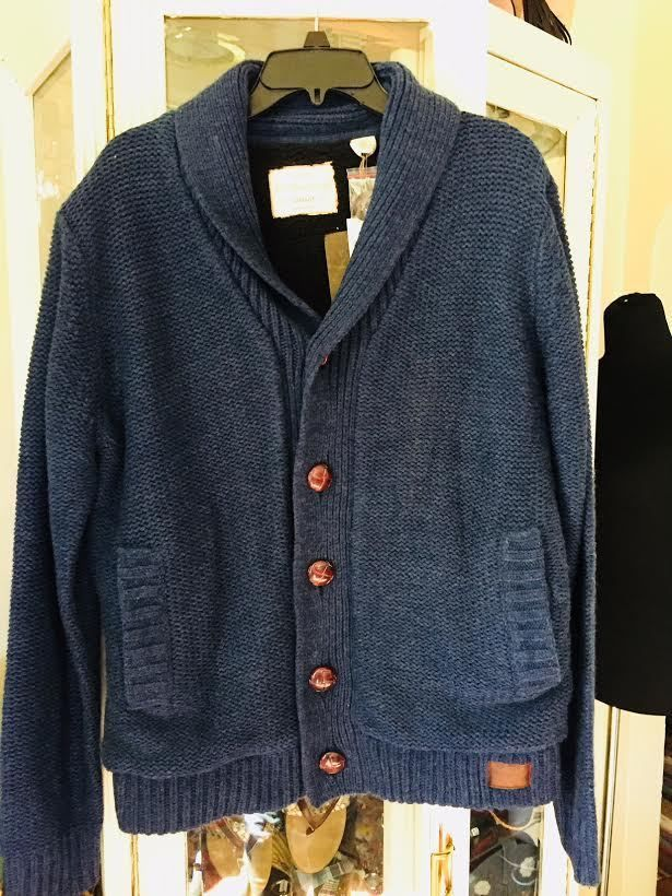 Original Weatherproof Vintage Blue Cardigan Sweater Men Medium #Weatherproof #Cardigan
