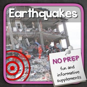 Let's learn about Earthquakes!These NO PREP materials contain informative exercises about earthquakes. Lots of puzzles and other fun activities are included to make it a fun class.Overview: Page 1/2: Introduction to earthquakesPage 3/4: How do earthquakes form?Page 5: Dangerous earthquakes in historyPage 6/7: Things to know about earthquakesPage 8: Word SearchPage 9: Revision exercisesPage 10: AnswersPage 11: Natural Disasters Game (Extra)Page 12: Credits You can save $5.00 by purchasing…