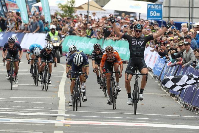 Ian Stannard (Team Sky) celebrates his stage 4 victory, Sun Herald Tour 2017.