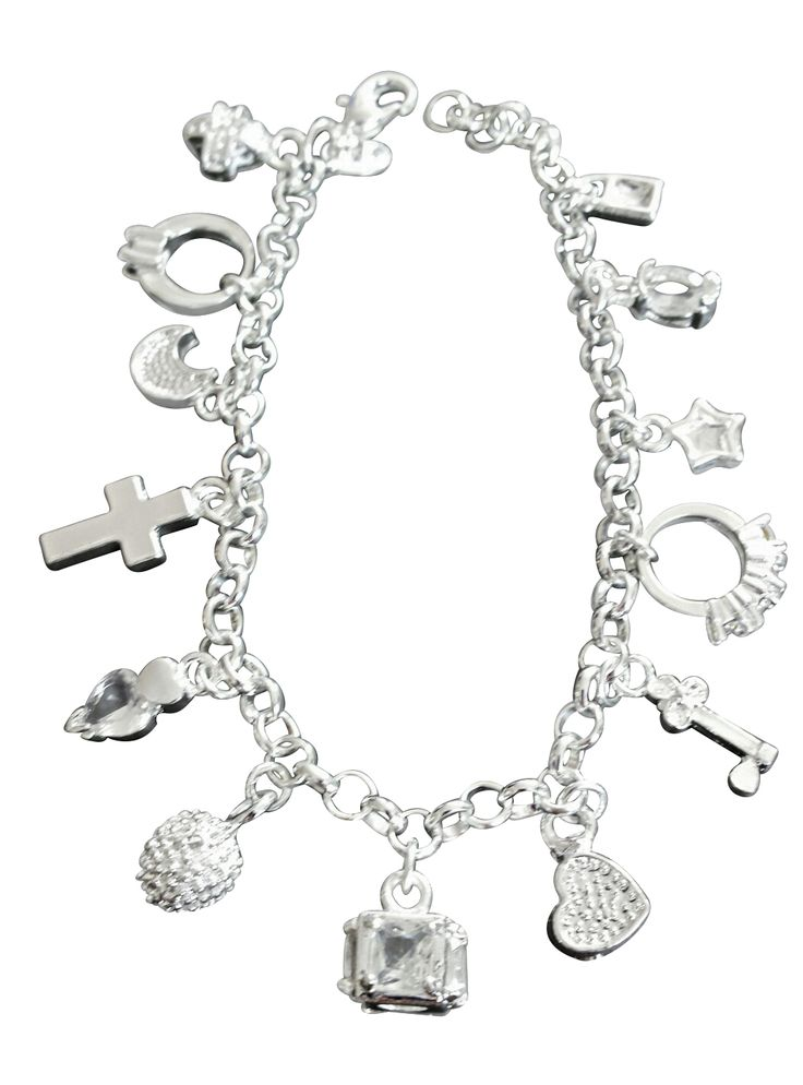 Beautiful sterling silver charm bracelet with 13 sparkling dangling charms.  Perfect gift for the bride to be or bridesmaids!