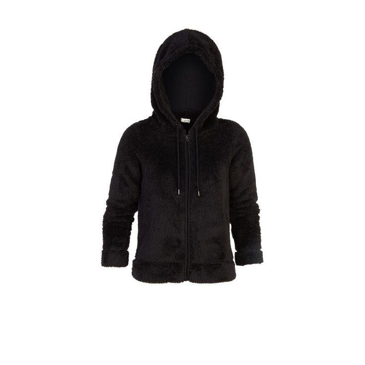 Ma veste niveau 10 de cocooning ! Veste peluche noire toute douce à capuche. Poches. Veste zippée. Cordon pour resserrer la capuche.