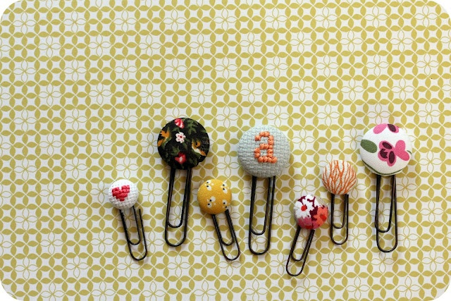 Fabric button bookmarks by Little Lovelies. #cover buttons