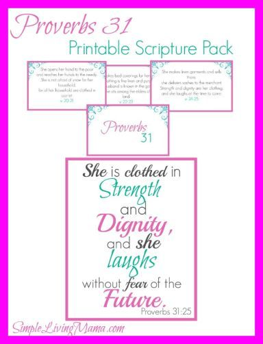 Printable Proverbs 31 Scripture Cards and 8x10 of Proverbs 31:25 - free printables