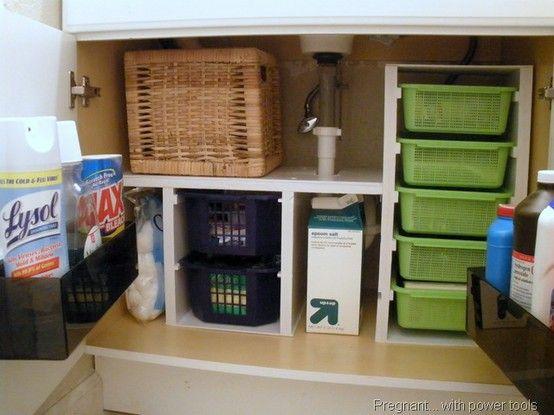 diy under sink shelves | Under Sink Storage Bathroom  http://pregnantpower.blogspot.com/2010/09/cheap-easy-diy-bathroom-cabinet-drawers.html