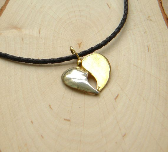 Heart necklace silver and gold plated heart pendant by prosinemi, €27.00