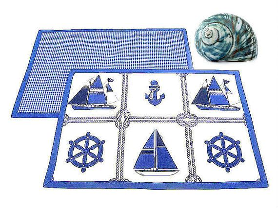 Sailboat coastal nautical placemat  Set of 4 double by SABDECO