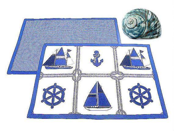 Sailboat coastal nautical placemat Set of 4 double by SABDECO