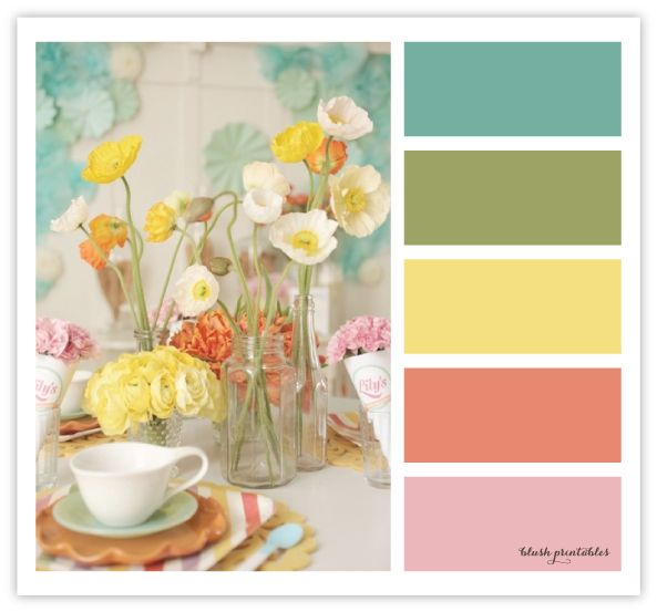 spring mix: blue, green, yellow, coral and pink