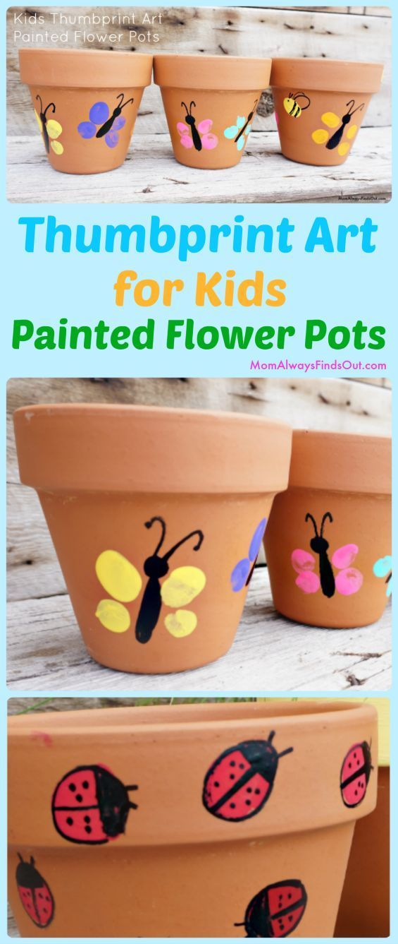 Thumbprint Art Project For Kids - Easy craft idea! Painted flower pots make cute homemade Mother's Day Gifts. Crafts