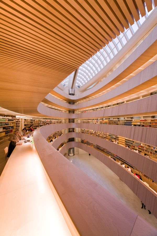 Santiago Calatrava's Rights Faculty Library Extension in Zurich .  For decades, the growing needs of Zurich University were met by structures erected on the outskirts of the city. In recent times, however, attempts have been made to increase the density o[ the existing facilities in the historical university district in the city center.     The faculty of law, hitherto scattered over eight different locations, was to be united and the library extended.