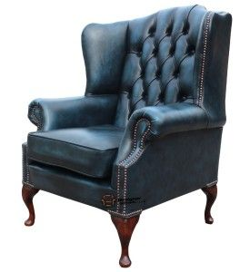 Chesterfield Flat Wing Queen Anne High Back Fireside Chair Antique Blue  Leather