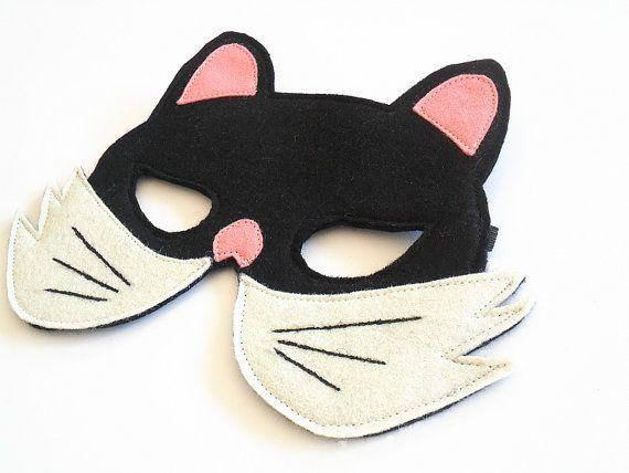 Black Cat Kid Animal Mask Children Carnival Mask Dress up Costume Accessory, Boys, Girls, Toddlers Felt Pretend Play Toy, €11.00