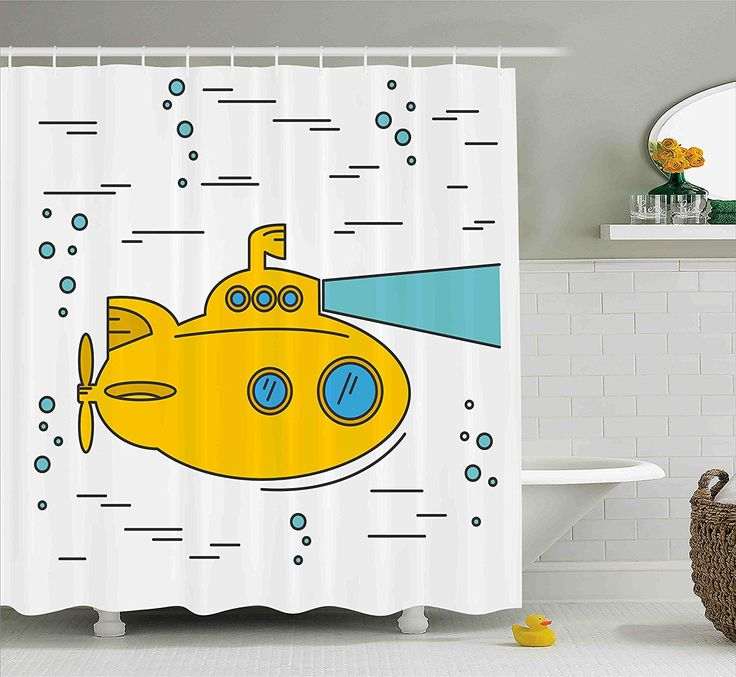 Amazon.com: Yellow Submarine Shower Curtain Set by Ambesonne, Ocean Nautical Adventure Underwater with Bubbles Porthole Cartoon Kids, Fabric Bathroom Decor with Hooks, 70 Inches, White Yellow Blue: Home & Kitchen