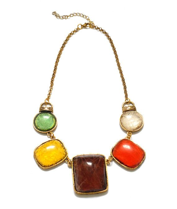 Colourful resin statement necklace emerald by TheFashionBandits, $12.50