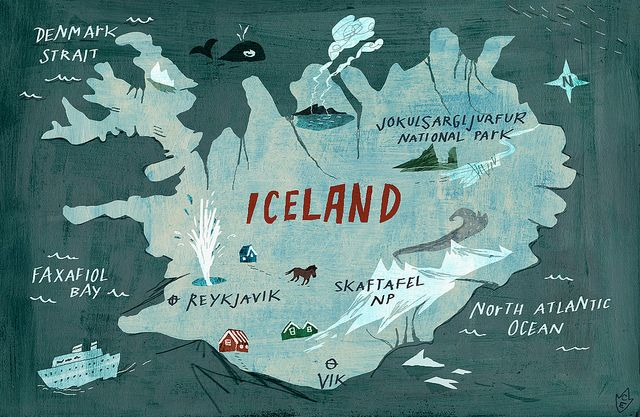 <3 <3  CLICK ON THIS PHOTO AND YOU GO TO A GREAT ICELAND PINTEREST <3 <3 ........Iceland map by Christiane Engel http://www.flickr.com/photos/goodillustration/5407521348/