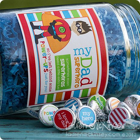 a fun candy jar for dad's desk with coordinating kiss stickers!Superhero Dads, Printables, Candy Bar Wrappers, Superhero Fathers S Day, Candies Bar, Superhero Treats, Superhero Candies, Jars, Kisses