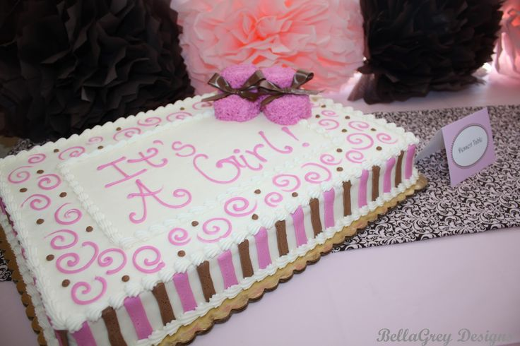Baby Shower Sheet Cakes   the cake table ~ I made the chocolate and pink runner for the shower ...