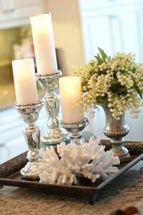 candles in silver..coral & lily of the valley
