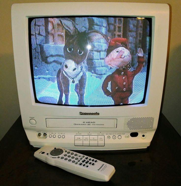 """Panasonic White 13"""" Color TV VCR Combo w FM Radio PV-M1378W Omnivision w Remote #Panasonic"""
