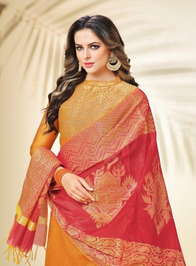 19aa10e4f9 #yellow #cotton #designs #salwarkameez | yellow banarasi silk salwar kameez  | print embroidered | full sleeves | red daman dupatta | fancy wear |  ethnic ...