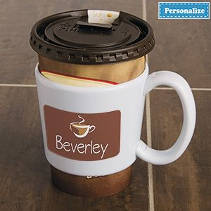 """Product # DC8357 - Turn any disposable cup into a easy-hold mug! Removable plastic sleeve protects your hands from hot beverages, plus snap on the large handle for even more comfortable sipping. Re-use over and over. Fits most take-out cups. Personalization: 1 line, up to 12 characters. 3""""H x 3-1/8""""Diam.  $14.98"""