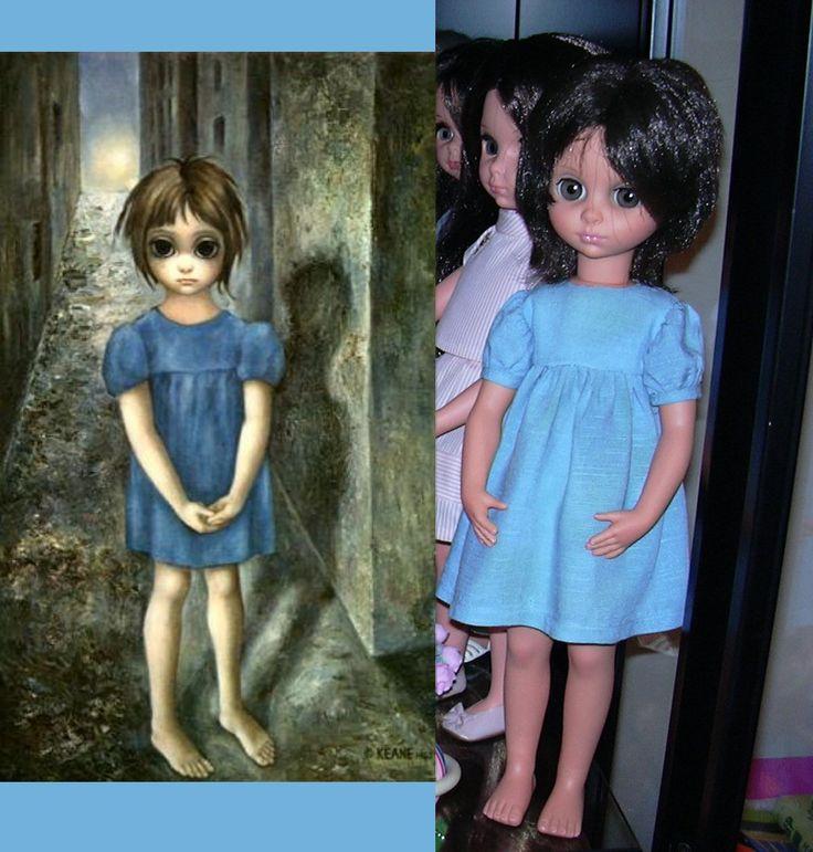 """Furga doll, pre-Alta Moda model, 1964 (Cindy?) sold in the US only. Exact copy of Keane """"Holy Grail"""", featured in Tim Burton """"BIG EYES"""" movie and main poster. After she became Susanna with smaller eyes, but same typical position of the hands."""