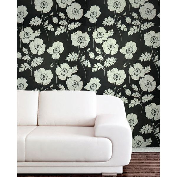 Poppycock Velvet Flocked Wallpaper in Ebony and White from the Plush... ($280) ❤ liked on Polyvore featuring home, home decor, wallpaper, room, wallpaper samples, black velvet wallpaper, black floral wallpaper, flowered wallpaper, contemporary floral wallpaper and black white wallpaper