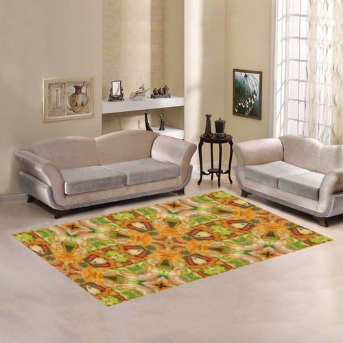 Shrimp, broccoli and rice 2281 Area Rug - 7'x5' by Khoncepts