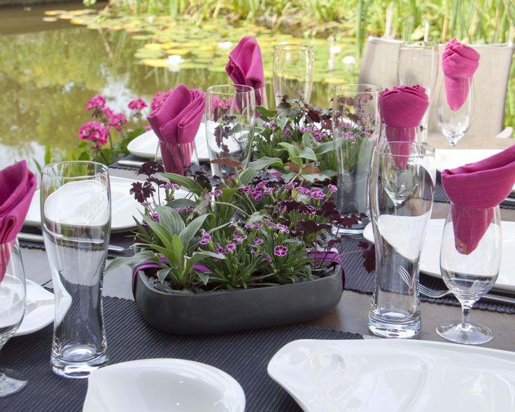 Tischdeko mit pinken Nelken #1000gutegruende #tischdeko #nelken