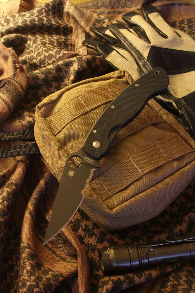 Spyderco Military Model, Black G10 Handle, Black Blade