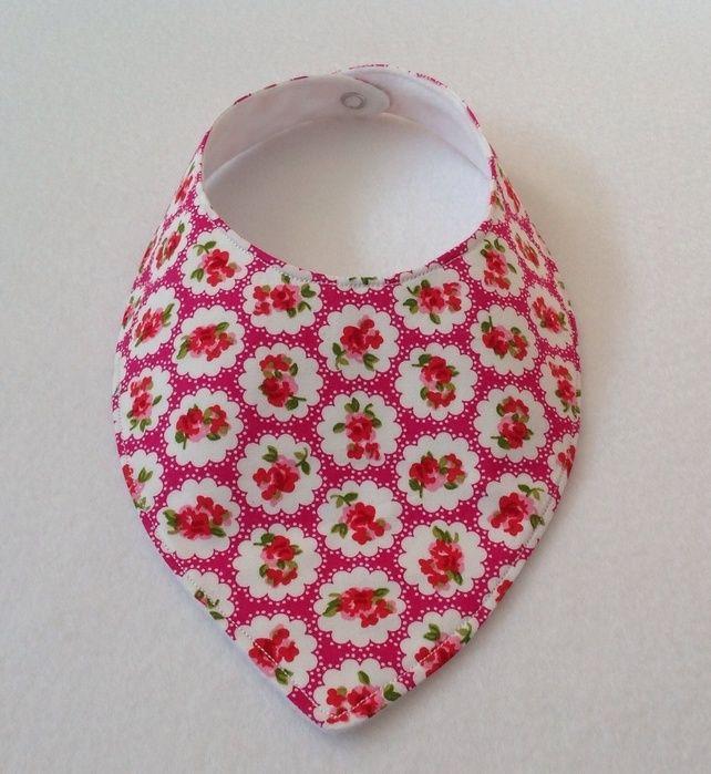 Pink Polka Floral Dribble Bib £3.00