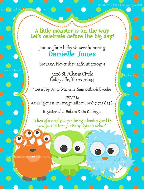 Little Monster Baby Shower Invitations for by TheInviteLadyShop