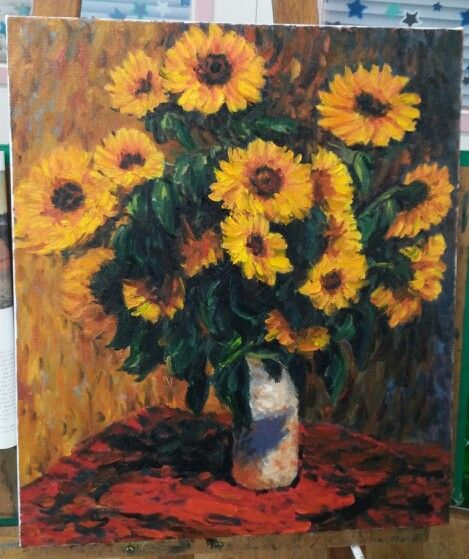 """""""Sunflowers"""" Oil on canvas by 성혁 지 2014 Claude Monet painted in 1881."""