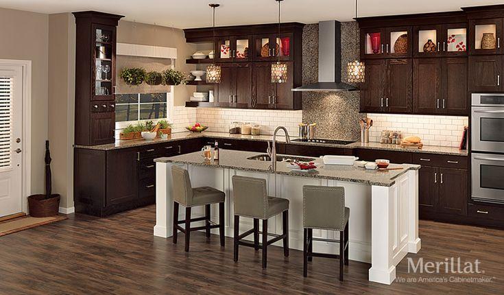 Merillat classic tolani in oak kona merillat cabinetry for Merillat kitchen cabinets
