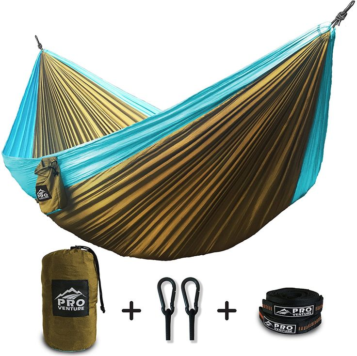 Proventure Double Camping Hammock - Lightweight and Compact - For Backpacking, the Beach, Back Yard, Travel, or Any Adventure! - FREE 9ft Tree Straps >>> You can get more details by clicking on the image.