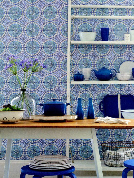 Fliesen Tapete Küche. 9 best tapeten für küchen images on ...