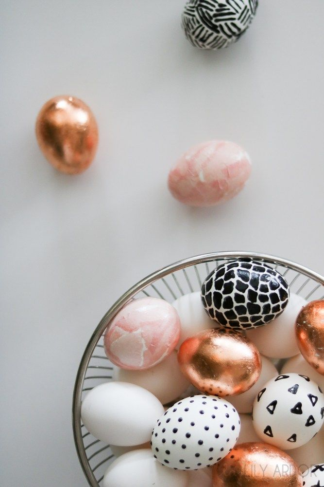 Modern EASTER EGGS DIY- copper leaf- 9d and Tissue paper  Easter