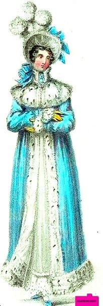 1816  October.  Pelisse, English.  White walking dress with wide lace hem trim worn under an aqua blue pelisse lined with spotted fur, aqua slippers, yellow slippers, white bonnet with high white plumes and aqua blue bows.  Fashion Plate via  Lady's Magazine.  suzilove.com