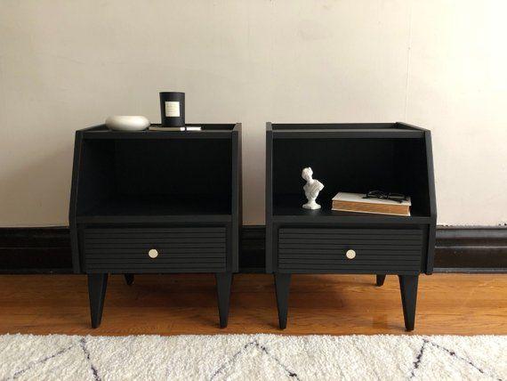 Pair Of Black Mid Century Modern Nightstands Vintage Modern