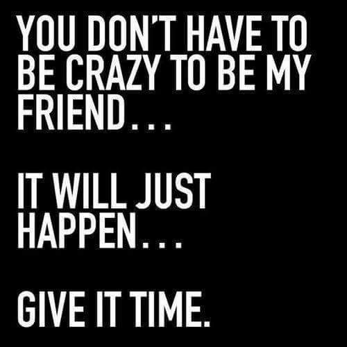 YOU DON'T HAVE TO BE CRAZY TO BE MY FRIEND... IT WILL JUST HAPPEN... GIVE IT TIME. ♡
