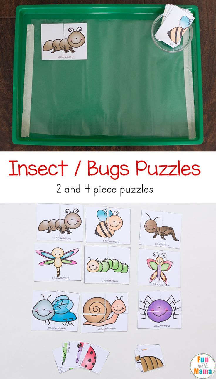 These printable spring themed insect bug puzzles are great for toddlers and preschoolers. via @funwithmama